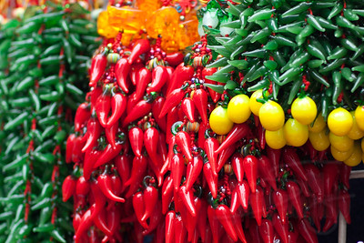 Plastic chili pepper necklaces. Temple Street market, Hong Kong.