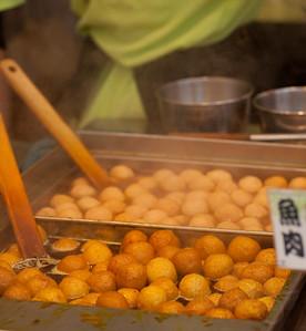 Curried fish balls. Hong Kong street festival.