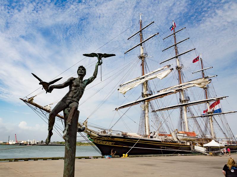 Galveston Harbor's iconic Boy with Birds statue.
