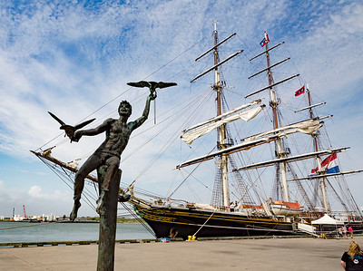 Galveston Harbor's iconic Boy with Birds statue.
