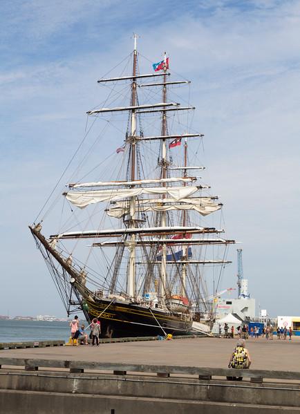 The modern cruise sailing ship, Stad Amsterdam.