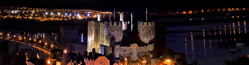 Conwy Castle at night Panoramic