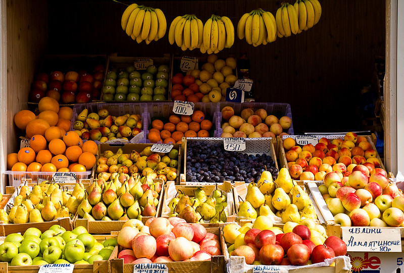 Fruit market stand, Vladivostok, 2007; when we first visited Russia in the 1980s such a profusion of choice was unimaginable. There was either fruit or no fruit; vegetable or no vegetable. And whatever was available was all you ate for days.