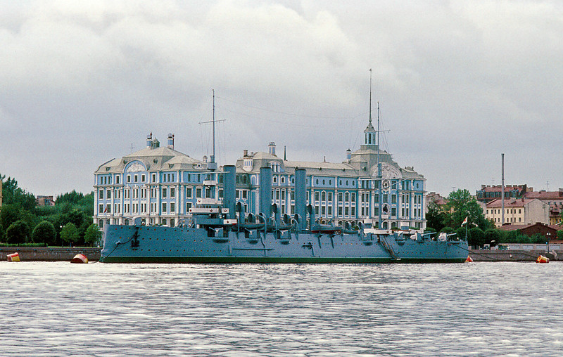 "The other charismatic, movable icon of the Revolution, the cruiser Aurora was launched in 1903 and was one of the few survivors of the Russo-Japanese War that effectively destroyed two-thirds of the Russian fleet.<br /> <br /> She was in port for repairs in 1917 and a combination of the dockyard workers and crew fired the blank shot at 2140 on November 7 (October 25 old calendar) signaling the beginning of the Bolshevik overthrow of the Provisional Kerensky government.<br /> <br /> Fun Fact: When she was a teenager in Berkeley, our friend Jennifer  <a href=""http://smu.gs/X0zi70"">http://smu.gs/X0zi70</a>) baby sat for the Kerenskys."