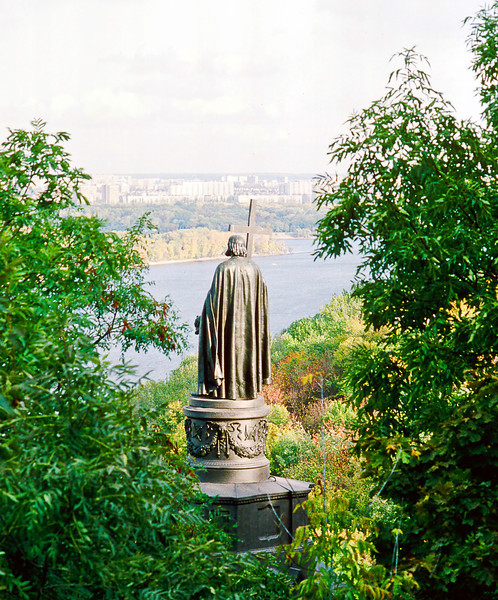 In 988, Vladimir I (aka The Great) adopted the Byzantine Orthodox religion for all of Russia at this bend in the Dnieper alongside his capital of Kiev. <br /> <br /> This stainless steel statue of him (for some reason commemorating that even under Communist rule) was allegedly the cause of a widespread shortage of table flatware in the year of its fabrication, making it very big forking deal in my estimation.
