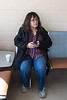 Denise Metatawabin sitting at Moosonee Airport.