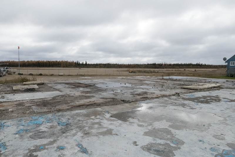 Foundation of former garage near Fort Albany Airport.
