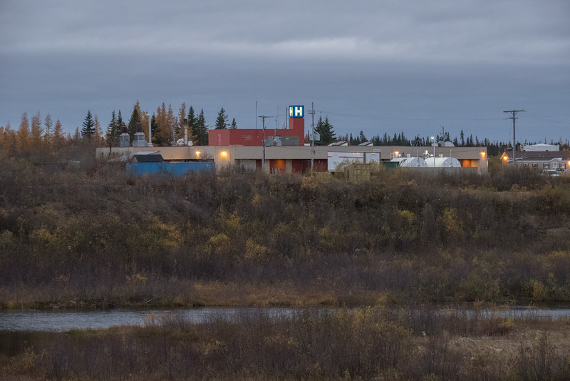 Fort Albany Hospital from Sinclair Island.