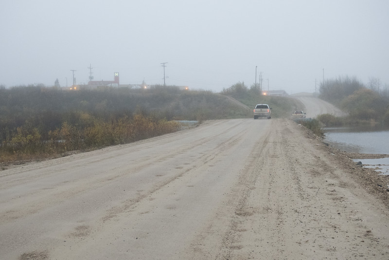 Looking from causeway towards mainland on a foggy morning in Fort Albany.