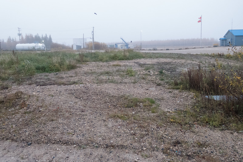 Site of former Roman Catholic Mission in Fort Albany. Fog.