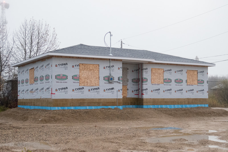 New house under construction on Cemetary Road in Fort Albany.