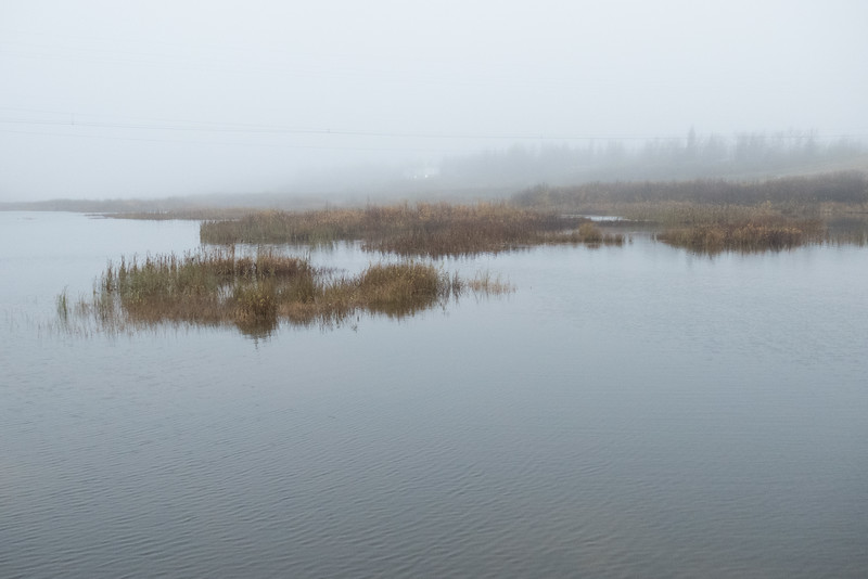On a foggy morning from causeway in Fort Albany.