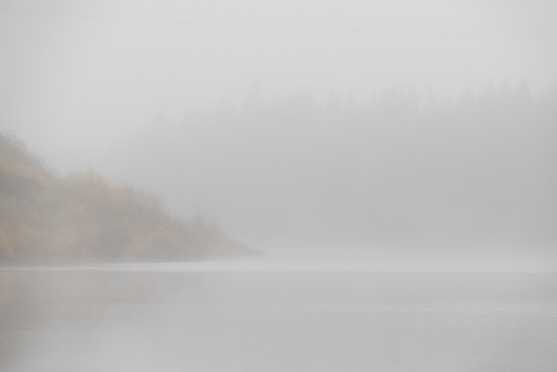Foggy morning looking down water between Sinclair Island and Anderson Island.