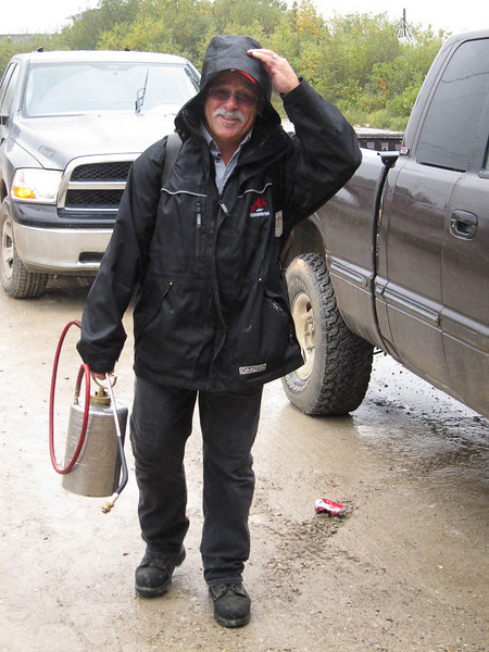 Bill Lefebvre, owner of A! Terminator likes walking even in the rain.
