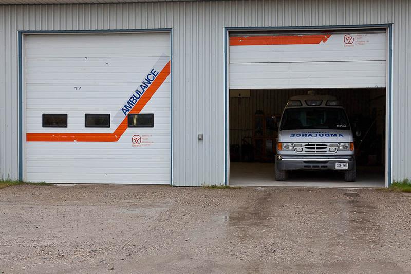 Ambulance base Attawapiskat with door partially open.