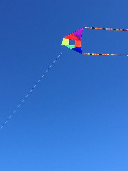 One of our kites flying at Fort Stevens SP