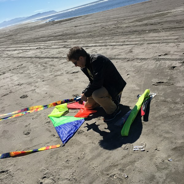 Folding kite.  Tails are 6ft long.