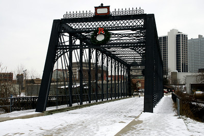 Wells Street iron truss bridge over St Mary's River