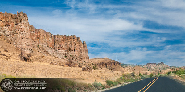 Approaching the Palisades - Shaniko-Fossil Highway 218 - Near Fossil, Oregon