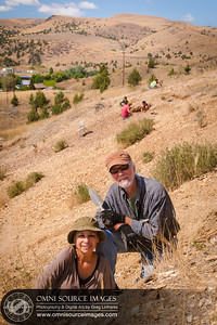 David and Silvia Digging for Fossils in Fossil, Oregon. Friday, August 22, 2014