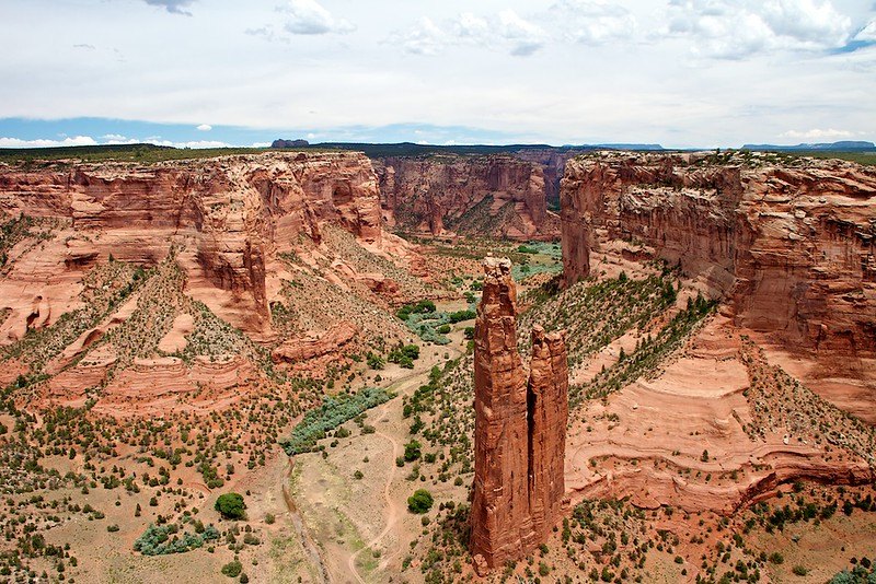 Spider Rock, sacred place of Spider Woman who gave the Dineh weaving and other skills, stands in the upper reaches of Canyon DeChelly, Chinle, AZ