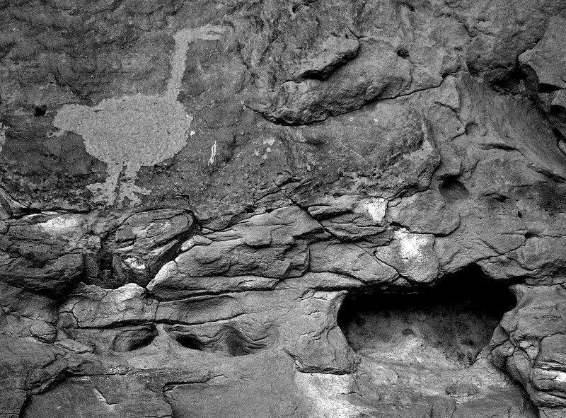 Chaco turkey and a heart shaped cavity in the canyon wall - Una Vida