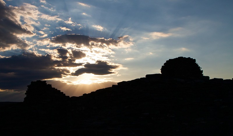 Chaco Canyon ruins at sunset