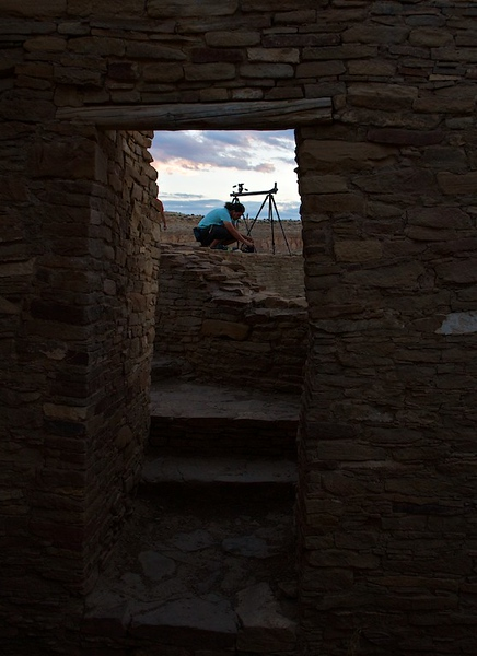 Photographer getting ready for sunset at Chaco Canyon - Pueblo Bonito