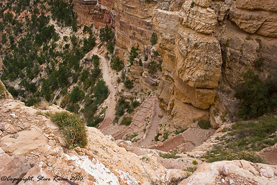 "On the way down the South Kaibab Trail.  The description said ""steep"" and ""strenuous"".  We found that it's only those things on the way back up :)  The trip to Cedar Point is around 3 miles round trip, and about 1200 feet elevation change.  I probably should have been taking the stairs at work before doing this."