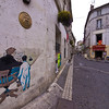 Angoulême - home of Hergé.. Tintin lives on on thw walls.