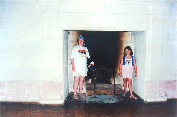 Gill and Lan in the fire place Chateau de Chambord France - Jul 1996