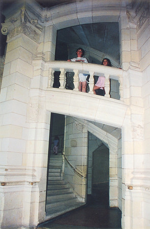 Internal stair case Chateau de Chambord France - Jul 1996