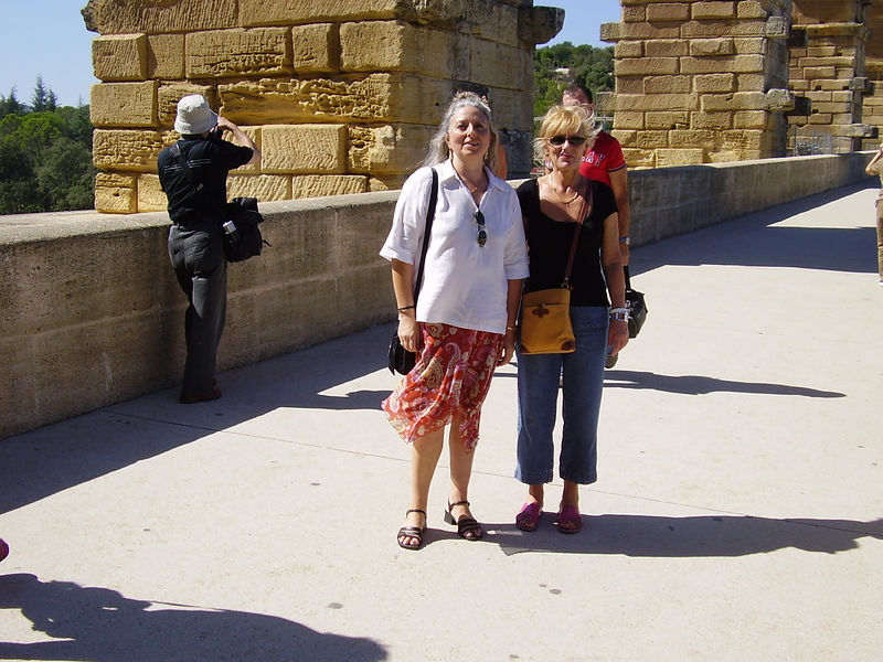Muriel and Nella (L-R) on the Pont du Gard.