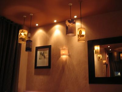 Cafe Sud off rue Tronchet. Lights for Nancy. Hand-painted silk drum pendants and sconces. And the food was awesome.