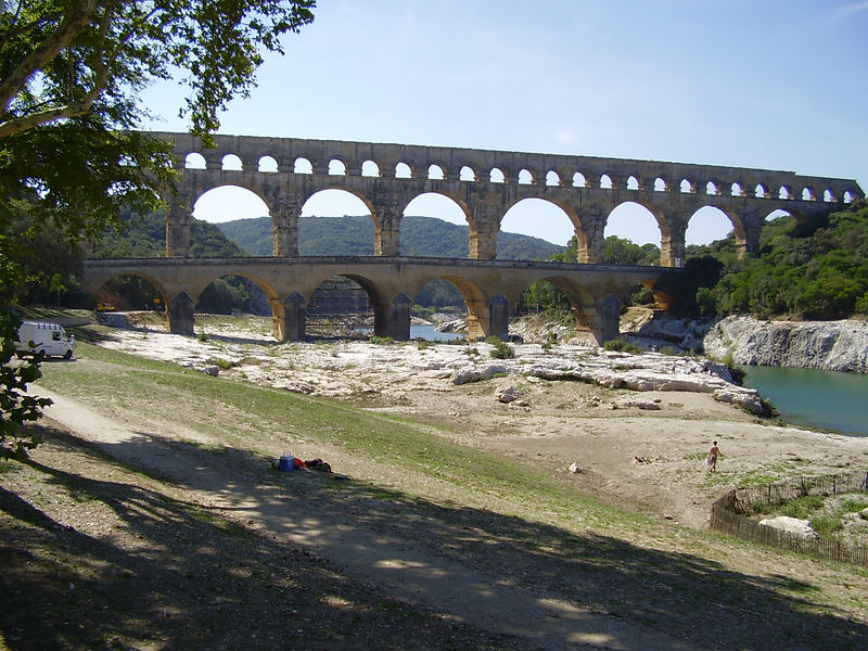 The Pont Du Gard, a Roman aqueduct built by Marcus Agrippa during the reign of Augustus. It was built over the river Gardon to supply the town of Nîmes.