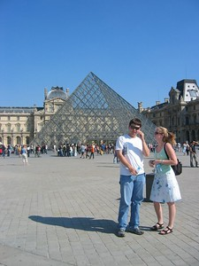 The glass pyramid at the Louvre.