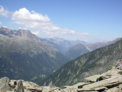 Looking over Chamonix Valley towards Aiguilles Rouges.