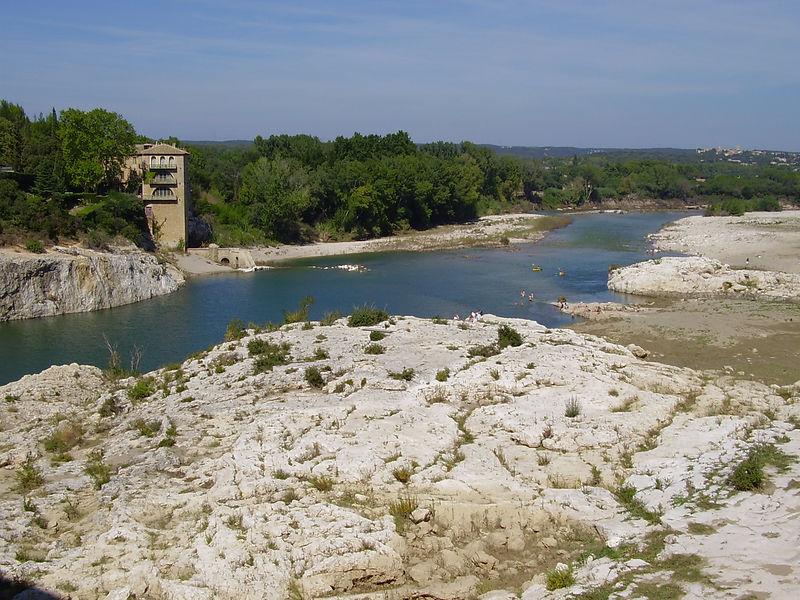 The Gardon river from the Pont Du Gard.