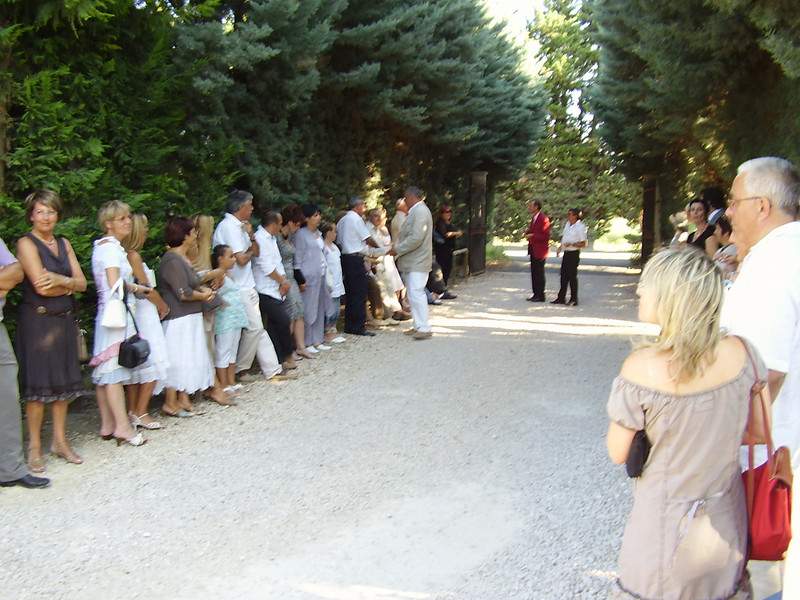 Waiting for the newly weds. Notice that the gates are open.
