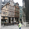 Timber-framed houses, old quarter of Rouen. Oldest buildings have upper floors extended out over the street.