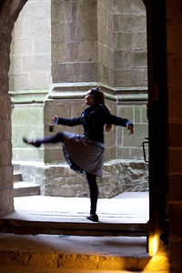Abby dances at Mont St-Michel