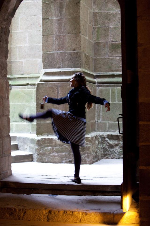 Abby dances at Mont St-Michel