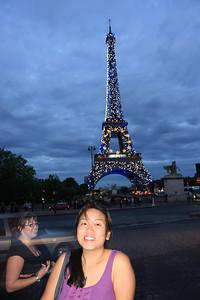 Kim at the Eiffel Tower at Dusk