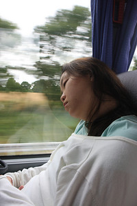 Kim sleeping on the bus ride through the Loire Valley