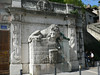 The lion and snake fountain, at the foot of Rachais Mountain, across the Isere river from the main part of Grenoble. Apparently the lion represent the Drac river, given to flooding, and the snake the more peaceful Isere.