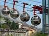 The cable cars (telepherique) that take you to the top of Rachais Mountain. I'm given to vertigo, and regretted riding this!