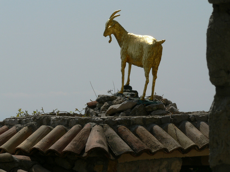 The golden goat, symbol of the seriously expensive Chateau de la Chevre d'Or