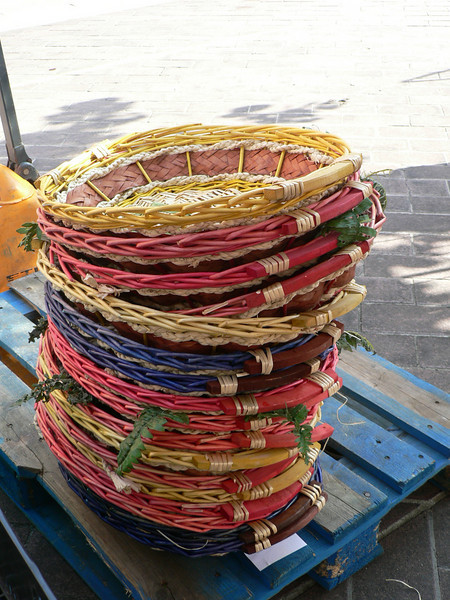 Baskets for sale in the market on Cours Saleya