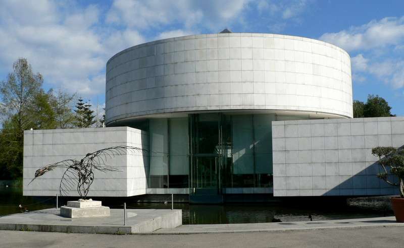 Outside of the Musee des Arts Asiatiques: the square ground floor symbolizing earth, the round second story symbolizing heaven