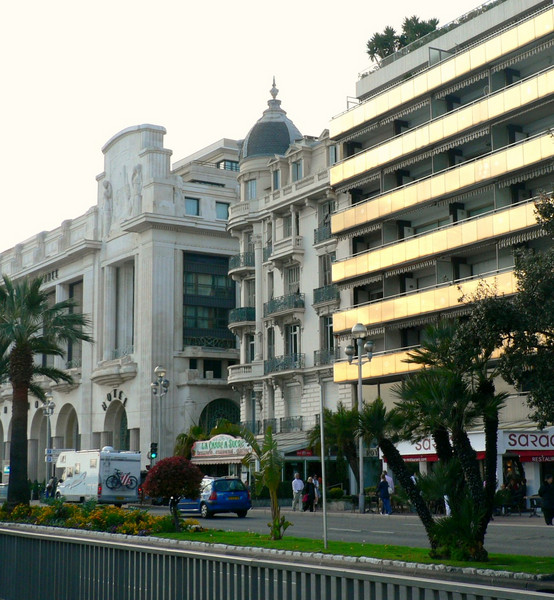 Typical section of buildings facing the sea along the Promenade des Anglais